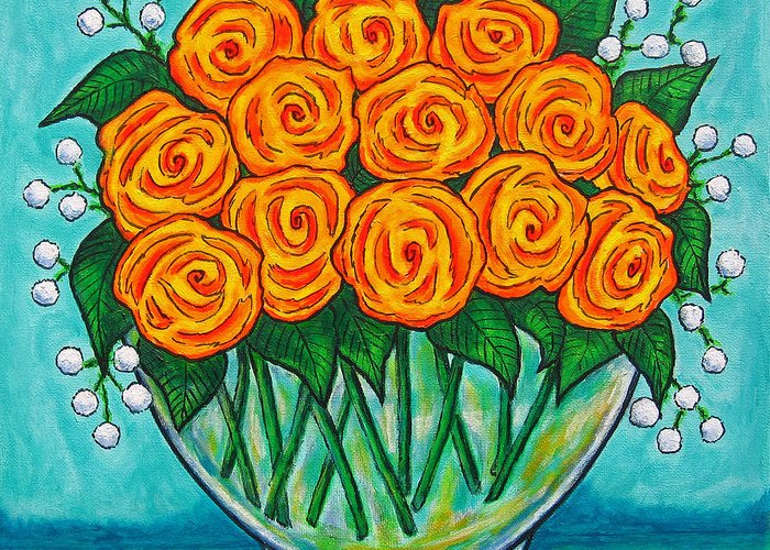 Orange Greeting Card featuring the painting Orange Passion by Lisa Lorenz