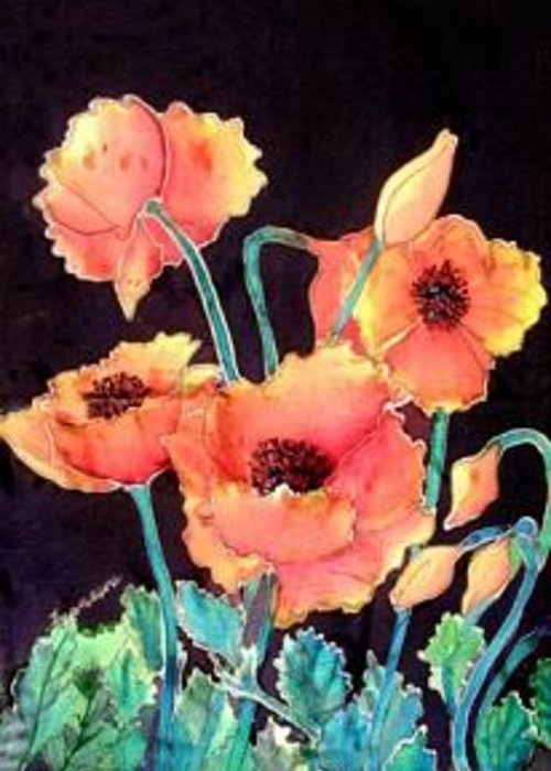 Poppies Greeting Card featuring the painting Orange Poppies by Francine Dufour Jones