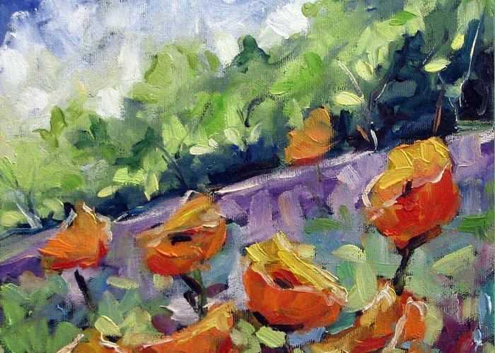Art Greeting Card featuring the painting Orange Poppies by Richard T Pranke
