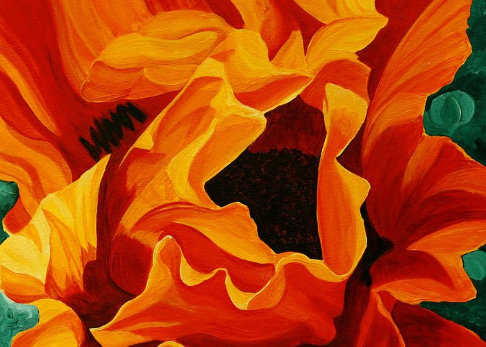 Flower Greeting Card featuring the painting Orange Poppy by Julie Pflanzer