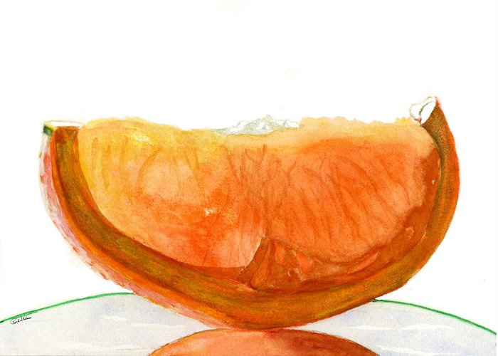 Orange Greeting Card featuring the drawing Orange Reflection by Rich Stedman