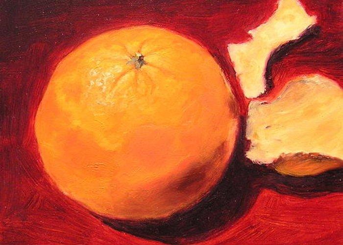 Orange Peels Greeting Card featuring the painting Orange by Richard Meister