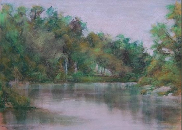 Landscape Greeting Card featuring the painting Orange River by Charles Peck