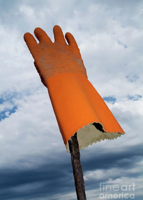 Bizarre Greeting Card featuring the photograph Orange Rubber Glove On A Wooden Post Against A Cloudy Sky by Sami Sarkis