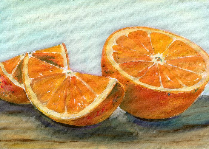 Oil Greeting Card featuring the painting Orange by Sarah Lynch
