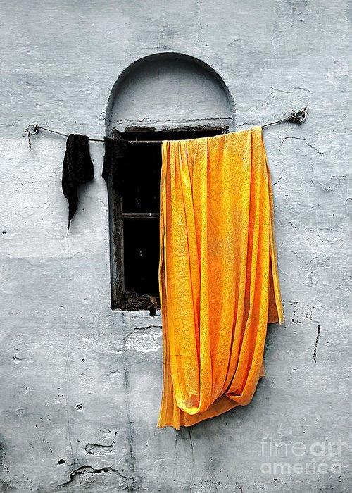 Window Greeting Card featuring the photograph Orange Sari by Derek Selander