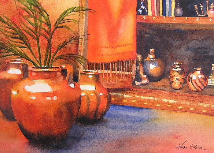 Pottery Greeting Card featuring the painting Orange Scarf by Karen Stark