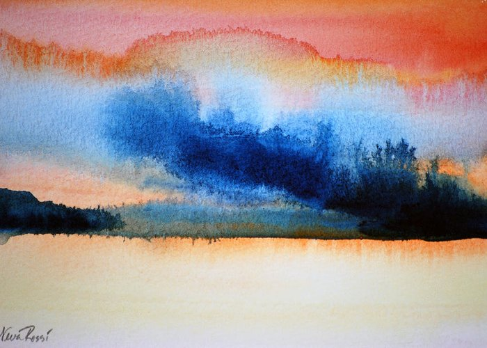 Landscape Greeting Card featuring the painting Orange Solitude by Neva Rossi