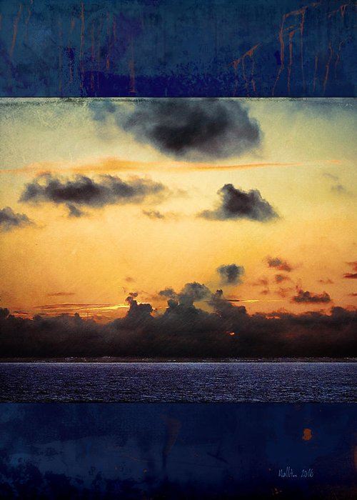 Ocean Sunset Greeting Card featuring the photograph Orange Sunset Over Ocean by Marty Malliton
