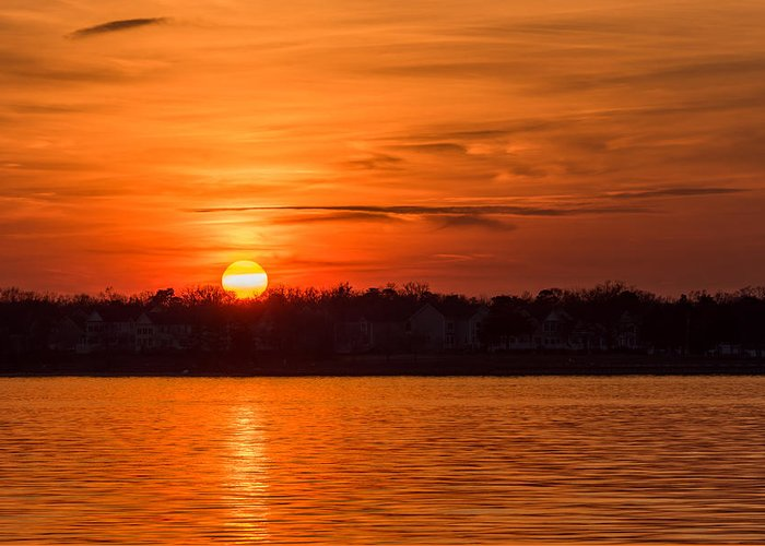 Terry D Photography Greeting Card featuring the photograph Orange Sunset Sky Island Heights Nj by Terry DeLuco