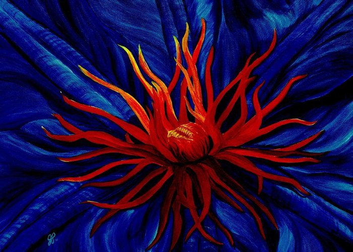 Macro Greeting Card featuring the painting Orange Tango by Julie Pflanzer