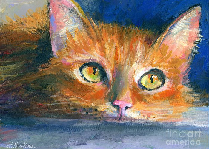 Orange Tubby Painting Greeting Card featuring the drawing Orange Tubby Cat Painting by Svetlana Novikova