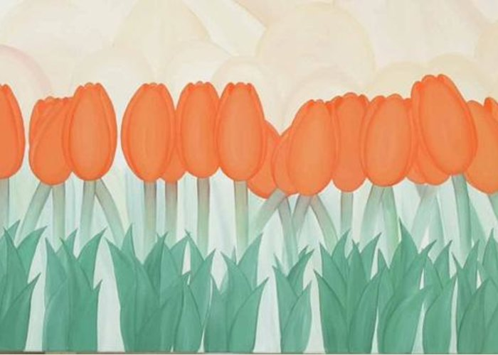 Marinella Owens Greeting Card featuring the painting Orange Tulipans by Marinella Owens