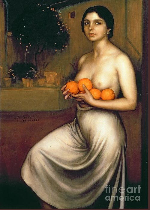 Oranges Greeting Card featuring the painting Oranges And Lemons by Julio Romero de Torres