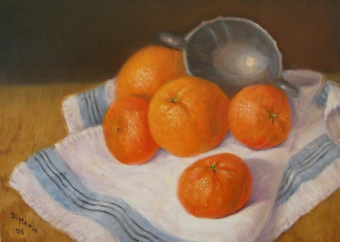 Realism Greeting Card featuring the painting Oranges And Tangerines by Donelli DiMaria