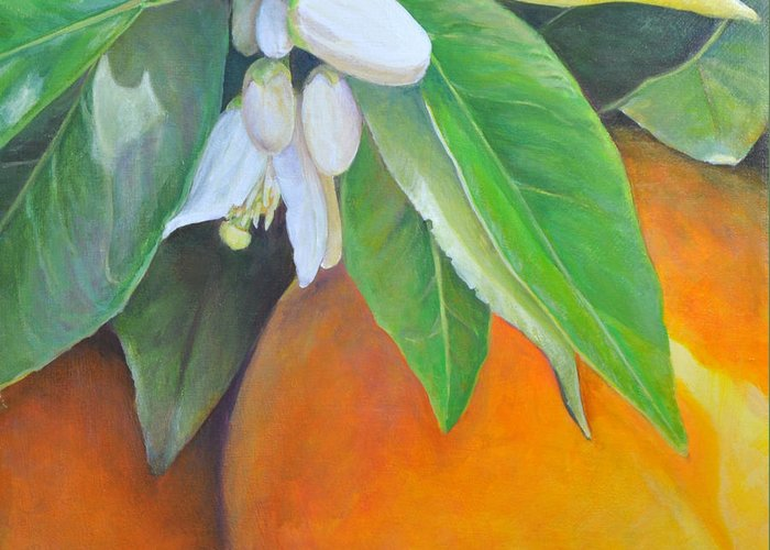 Acrylic Painting Greeting Card featuring the painting Oranges et Fleurs by Muriel Dolemieux