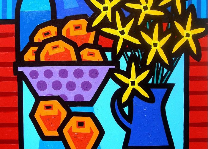 Canvas Greeting Card featuring the painting Oranges Flowers And Bottle by John Nolan