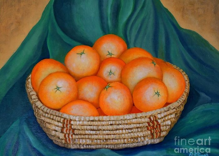Oranges Greeting Card featuring the painting Oranges In A Basket by Caroline Street