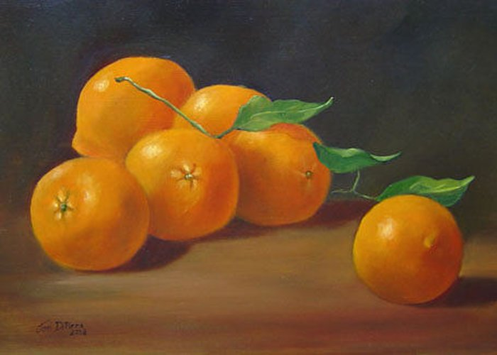 Fruit Greeting Card featuring the painting Oranges by Joni Dipirro