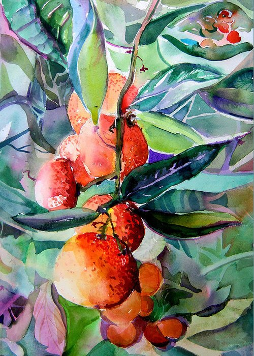 Oranges Greeting Card featuring the painting Oranges by Mindy Newman