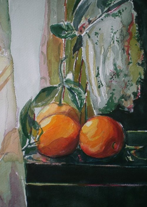 Oranges Greeting Card featuring the painting Oranges On Black by Aleksandra Buha