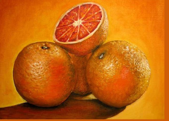 Oranges Greeting Card featuring the painting Oranges original oil painting by Natalja Picugina