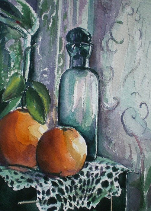 Still Life Greeting Card featuring the painting Oranges With Blue Bottle by Aleksandra Buha