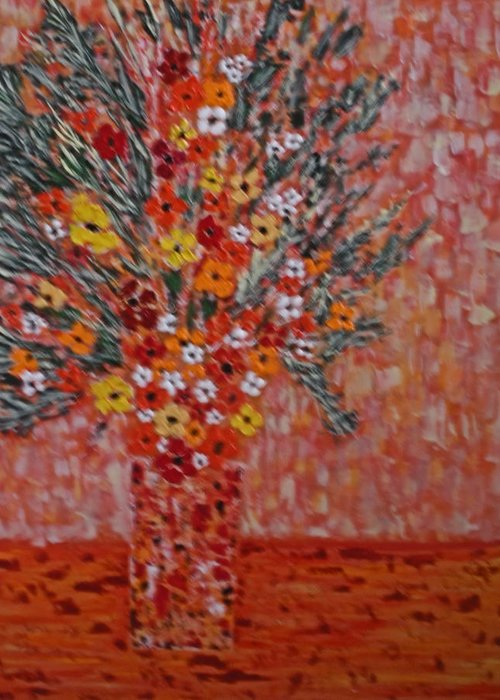 Flowers Greeting Card featuring the painting Orangey by Hema Rana