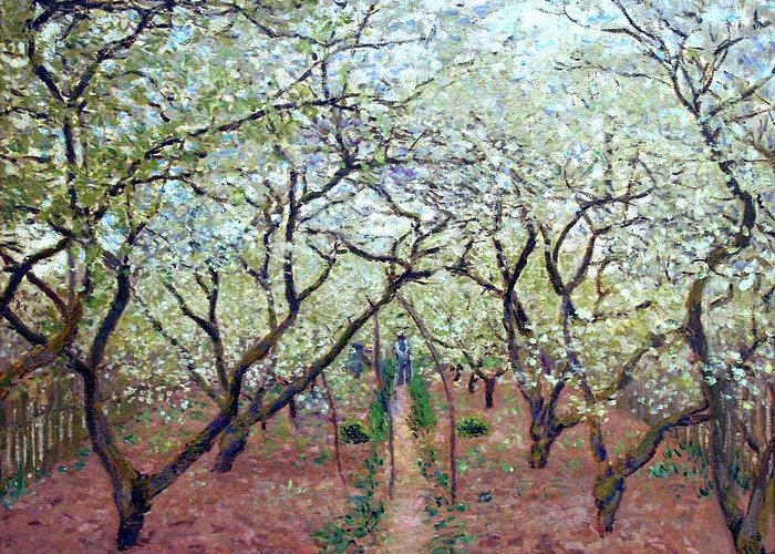 Claude Monet 1879 Orchard In Bloom Greeting Card featuring the digital art Orchard In Bloom by Mark Carlson
