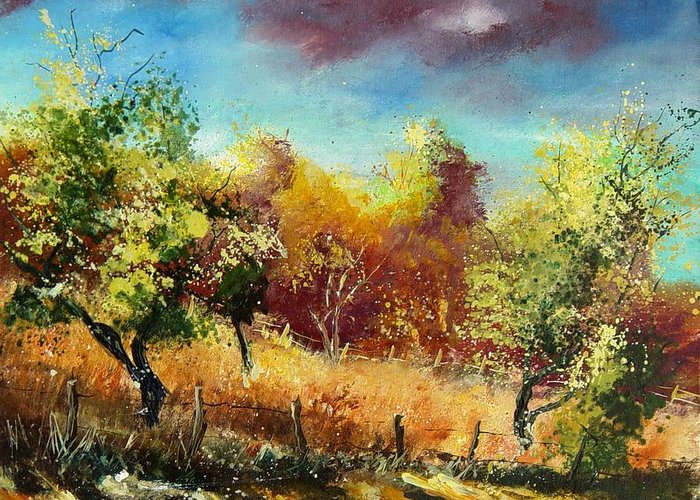 Flowers Greeting Card featuring the painting Orchard by Pol Ledent