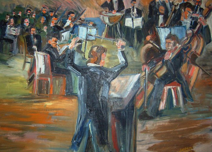 People Greeting Card featuring the painting Orchestra by Joseph Sandora Jr