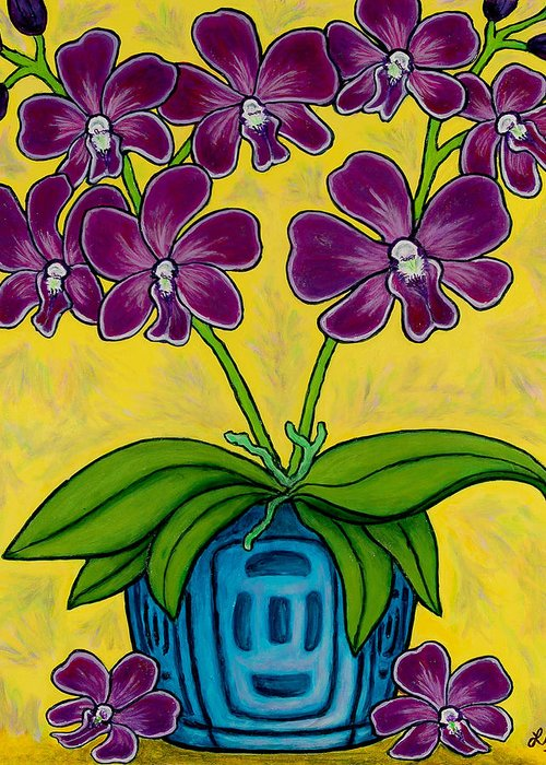 Orchids Greeting Card featuring the painting Orchid Delight by Lisa Lorenz