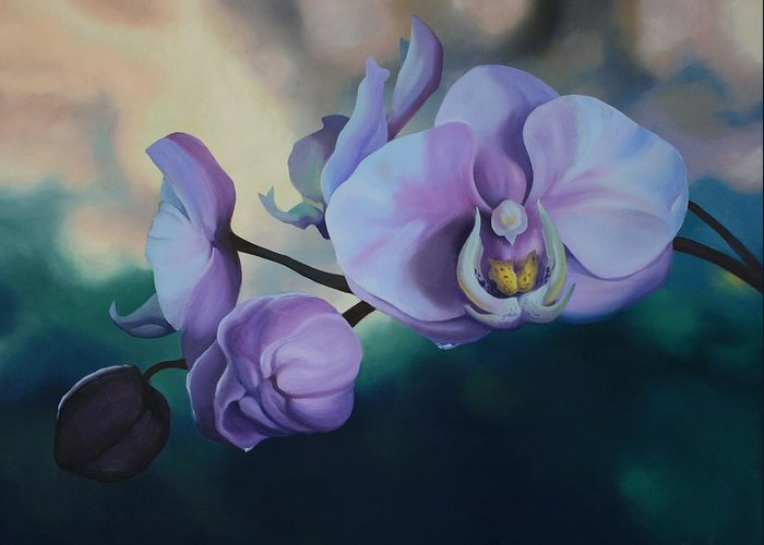 Oil On Canvas Greeting Card featuring the painting Orchid Dew by Michael Vires