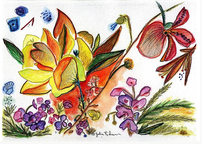Flowers Greeting Card featuring the painting Orchid No. 30 by Julie Richman