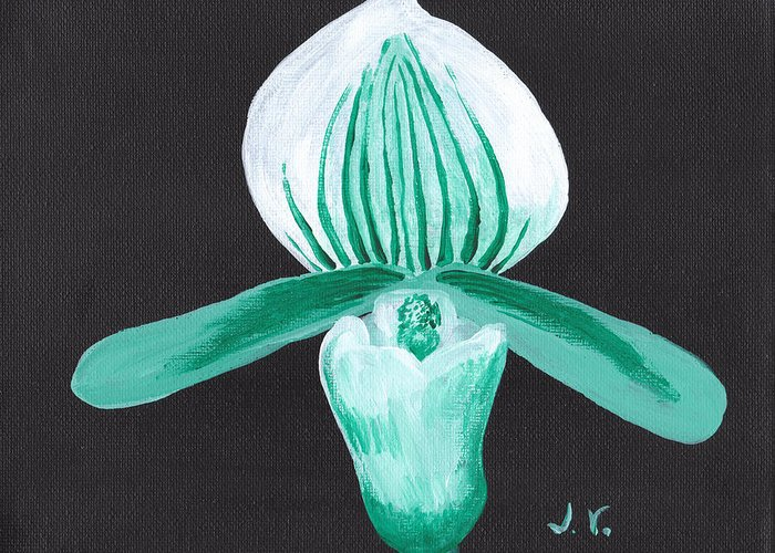 Orchid Greeting Card featuring the painting Orchid-paphiopedilum Bob Nagel by M Valeriano