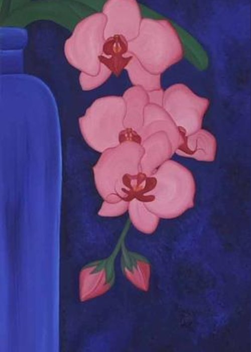 Marinella Owens Greeting Card featuring the painting Orchide In A Vase by Marinella Owens
