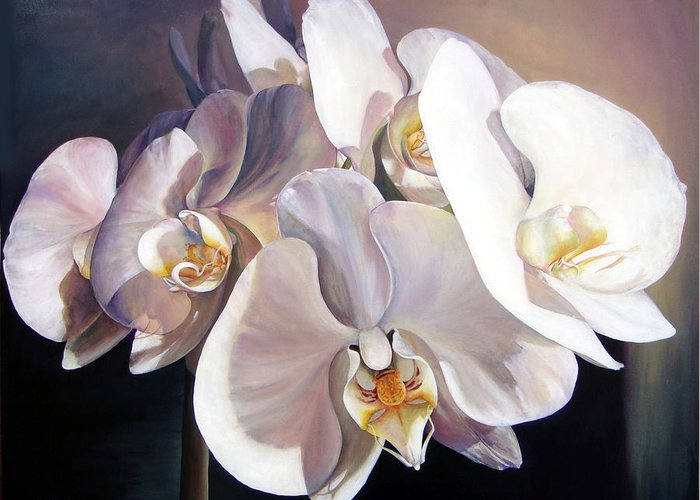Floral Painting Greeting Card featuring the painting Orchidee by Muriel Dolemieux