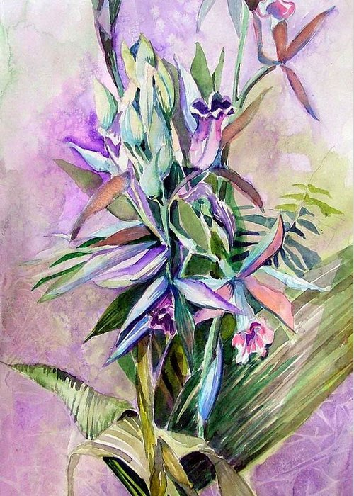 Orchids Greeting Card featuring the painting Orchids- Botanicals by Mindy Newman