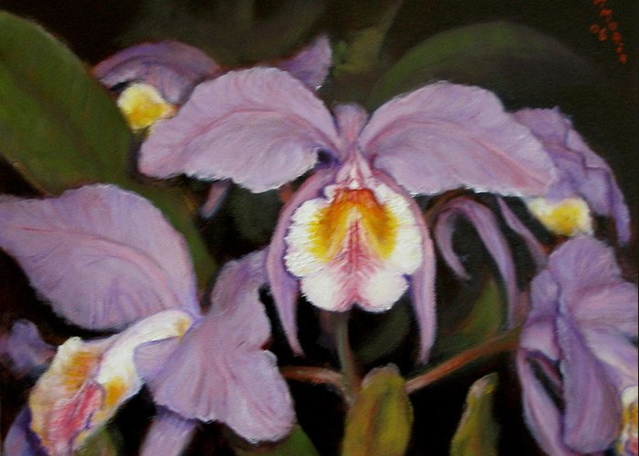Realism Greeting Card featuring the painting Orchids by Donelli DiMaria