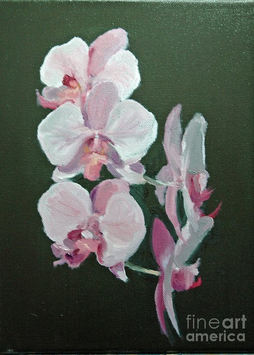 Floral Greeting Card featuring the painting Orchids For Didi by Glenn Secrest