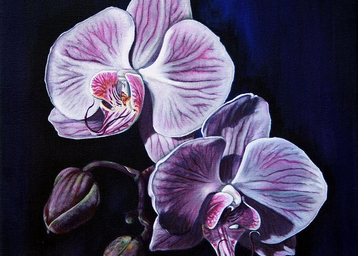 Flowers Greeting Card featuring the painting Orchids II by Joan Garcia