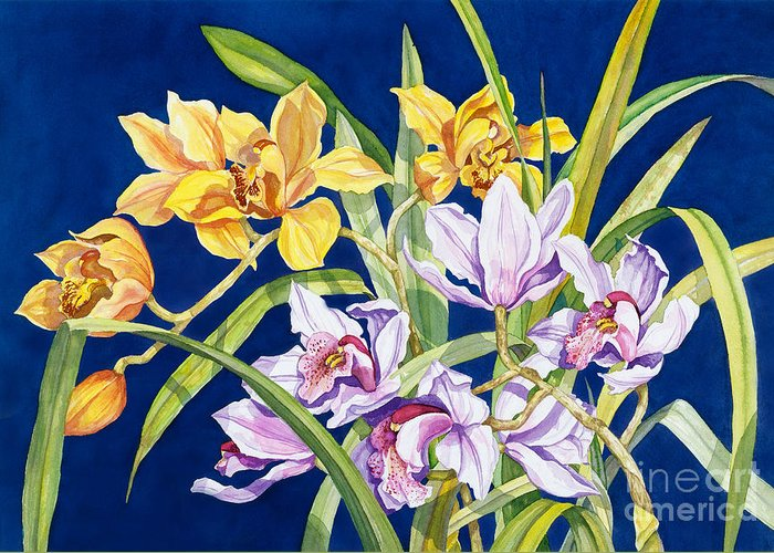 Orchids Greeting Card featuring the painting Orchids In Blue by Lucy Arnold