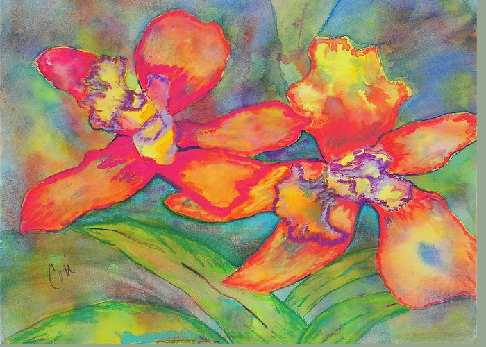 Flowers Greeting Card featuring the painting Orchids In Paradise by Cori Solomon