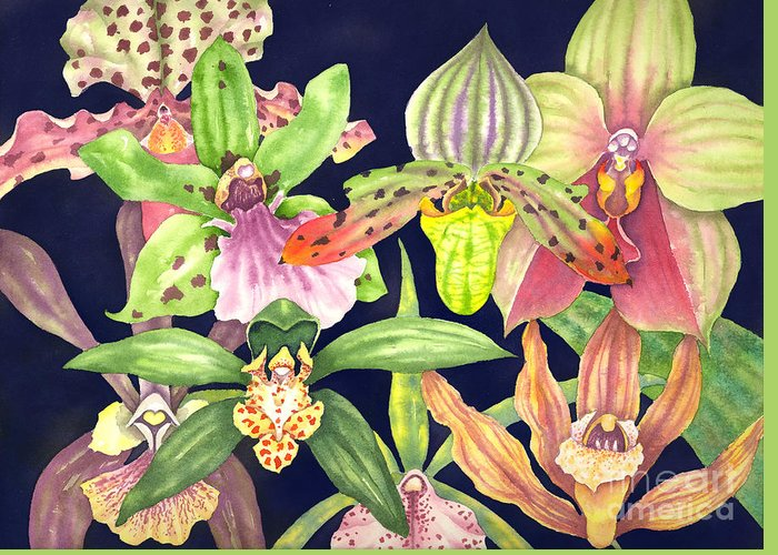 Orchids Greeting Card featuring the painting Orchids by Lucy Arnold