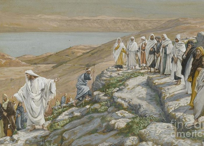Tissot Greeting Card featuring the painting Ordaining Of The Twelve Apostles by Tissot
