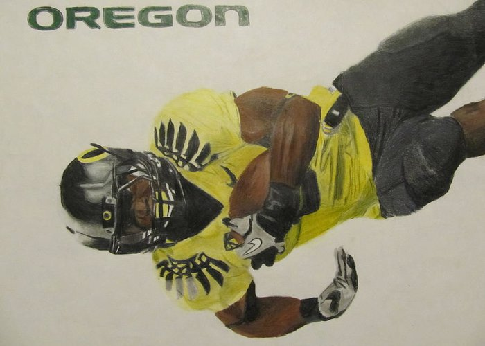Oregon Greeting Card featuring the drawing Oregon Ducks Lamichael James by Ryne St Clair