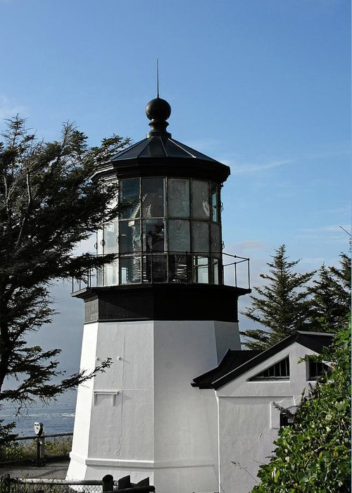 Cape Meares Lighthouse Greeting Card featuring the photograph Oregon Lighthouses - Cape Meares Lighthouse by Christine Till