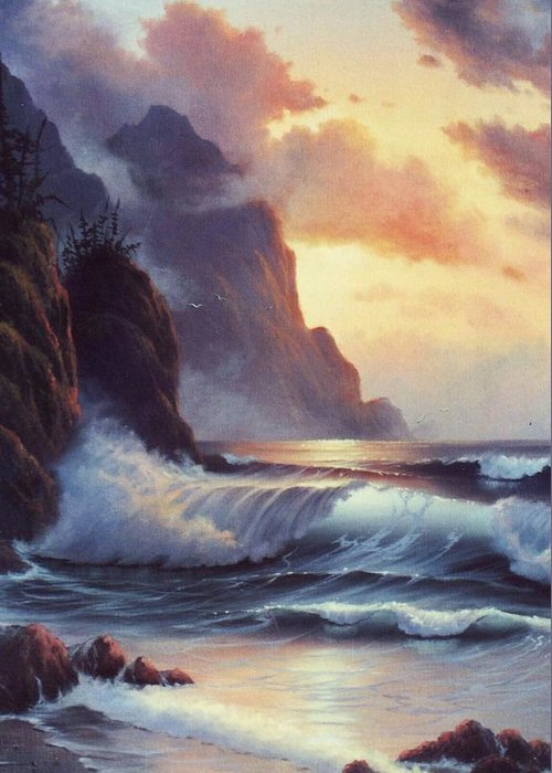 Sunset Of Oregon Coast  Seascape Greeting Card featuring the painting Oregon Sunset by Lynne Parker