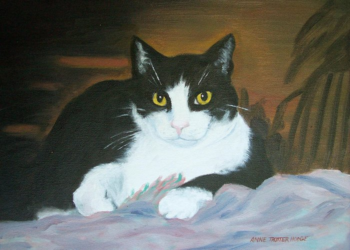 Cat Greeting Card featuring the painting Oreo by Anne Trotter Hodge