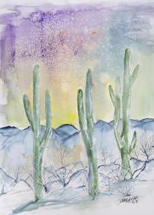 Impressionistic Greeting Card featuring the painting Organ Pipe Cactus desert southwestern painting poster print by Derek Mccrea